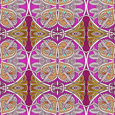 When Four Hearts Meet as One (orange version) fabric by edsel2084 on Spoonflower - custom fabric