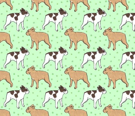 French Bulldog toons and stars - green fabric by rusticcorgi on Spoonflower - custom fabric