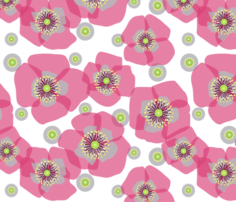 Poppies on white fabric by heleenvanbuul on Spoonflower - custom fabric