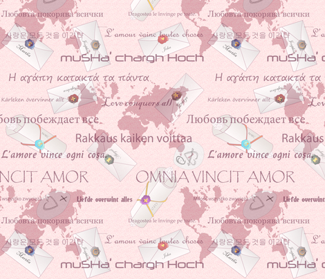 love_conquers_all_sans_roses fabric by glimmericks on Spoonflower - custom fabric