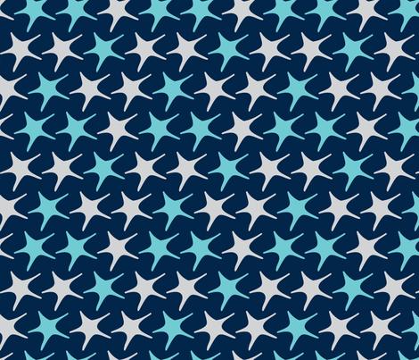 Matisse stars dark blue background fabric by pinkbrain on Spoonflower - custom fabric