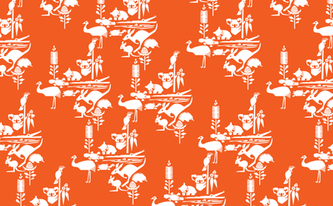Animal Corroboree -large white on orange fabric by bjornonsaturday on Spoonflower - custom fabric