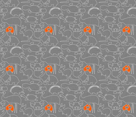 Oz Love grey linen fabric by bjornonsaturday on Spoonflower - custom fabric