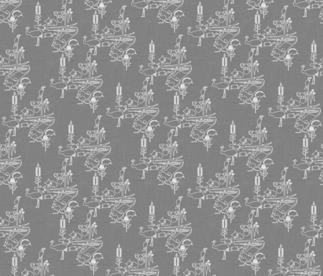 Animal Corroboree -small white line on grey linen fabric by bjornonsaturday on Spoonflower - custom fabric