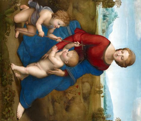 Seamless: Raphael - Madonna in the Meadow fabric by bonnie_phantasm on Spoonflower - custom fabric