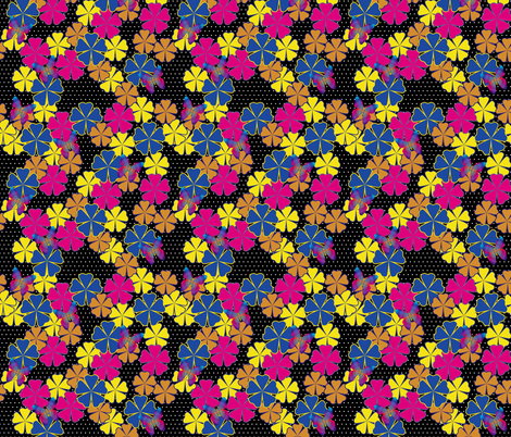 Butterfly Glow and Flowers polka fabric by glanoramay on Spoonflower - custom fabric