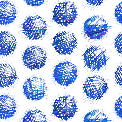sketchy dots - blue on white fabric by ravynka on Spoonflower - custom fabric