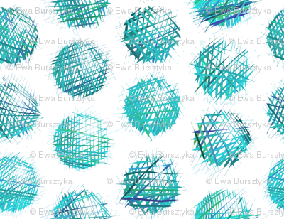 sketchy dots - turquoise on white