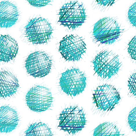 sketchy dots - turquoise on white fabric by ravynka on Spoonflower - custom fabric