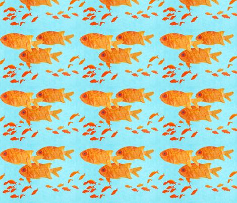 orange_fish_on_blue_ fabric by patti_ on Spoonflower - custom fabric