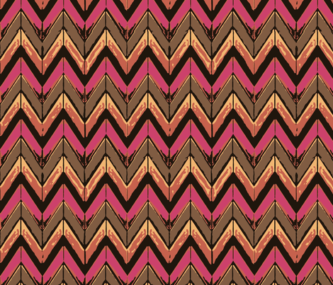 Chocolate pink zig zag to town fabric by yomarie on Spoonflower - custom fabric