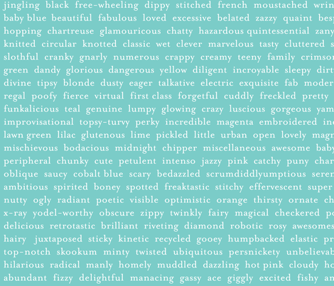 Improv Adjectives - AQUA fabric by happysewlucky on Spoonflower - custom fabric