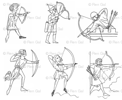 Medieval Archers on white