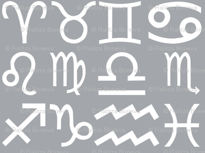 All together zodiac signs - grey