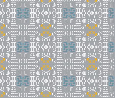 All together zodiac signs - grey fabric by domoshar on Spoonflower - custom fabric