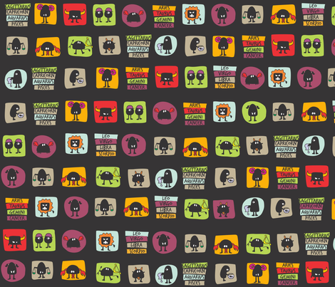 black_thingy_zodiac fabric by maeli on Spoonflower - custom fabric