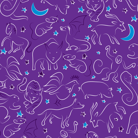 Zodiac Sky fabric by ebygomm on Spoonflower - custom fabric