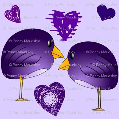 PURPLE BIRDS IN LOVE