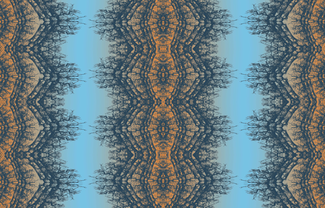 norwgian wood blue and orange fabric by susiprint on Spoonflower - custom fabric