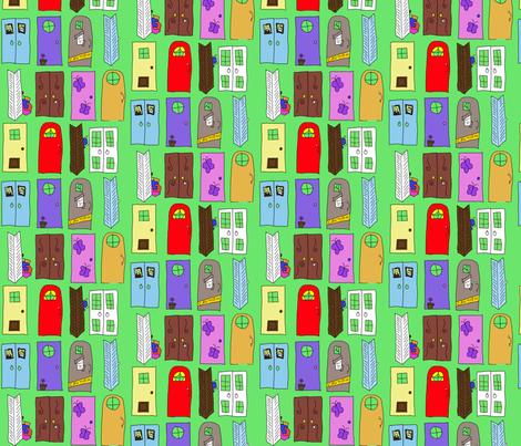"""Monsters Inc"" Doors fabric by squeaky_designs on Spoonflower - custom fabric"
