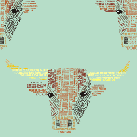 Taurus the Bull Blue fabric by smuk on Spoonflower - custom fabric