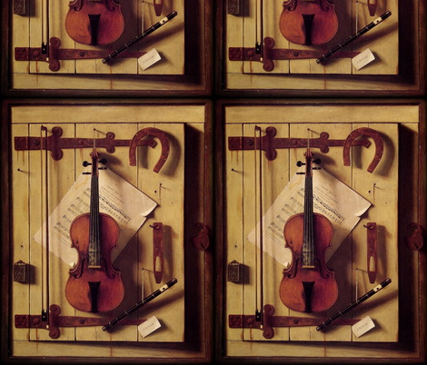 William Michael Harnett Still life Violin and Music fabric by peacoquettedesigns on Spoonflower - custom fabric