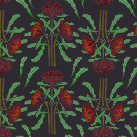 Dark red waratahs on dark gray by Su_G fabric by su_g on Spoonflower - custom fabric