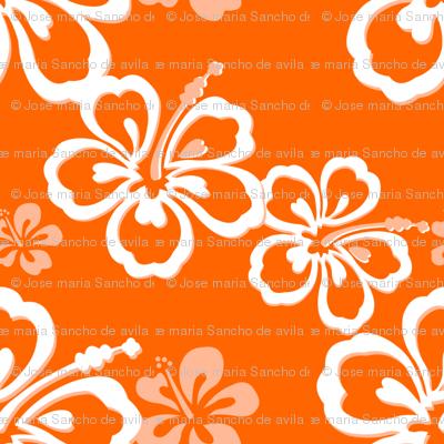 Orange Hawaiian Flowers Pattern