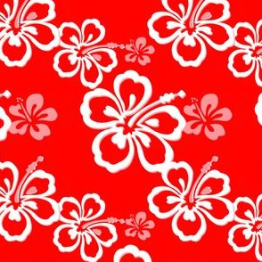 Red-Orange Hawaiian Flowers Pattern