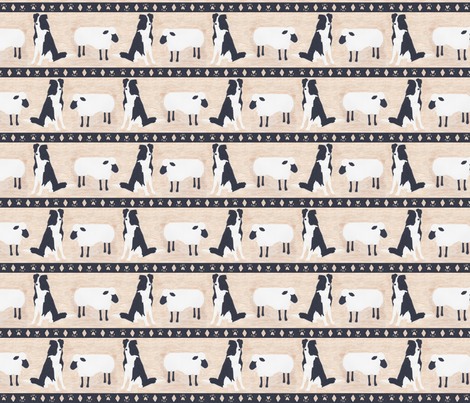 Primitive Border Collie and sheep border - small fabric by rusticcorgi on Spoonflower - custom fabric