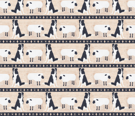 Primitive Border Collie and sheep border - Large width fabric by rusticcorgi on Spoonflower - custom fabric