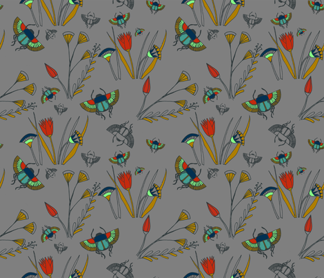 Scarab Floral fabric by violet's_pet_spider on Spoonflower - custom fabric