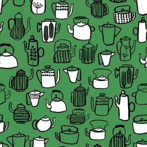 Teapots - Kelly Green/White/Black by Andrea Lauren