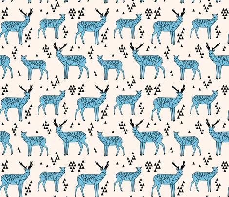 Geometric Deer - Champagne / Tiffany Blue fabric by andrea_lauren on Spoonflower - custom fabric