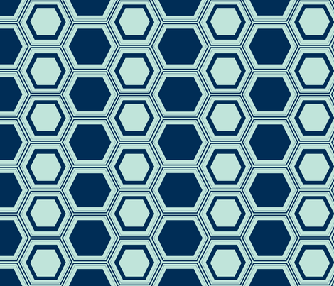 honeycombed Navy-Aqua fabric by megancarn on Spoonflower - custom fabric