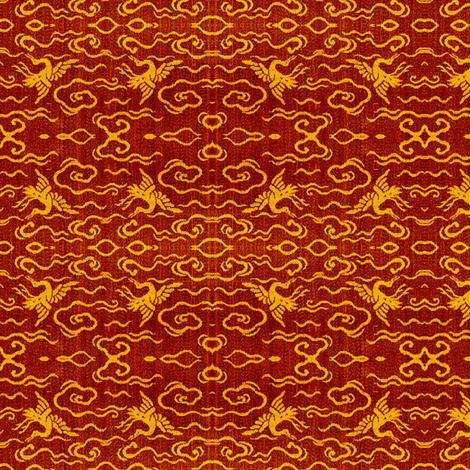Cranes - sangria, tangerine fabric by materialsgirl on Spoonflower - custom fabric