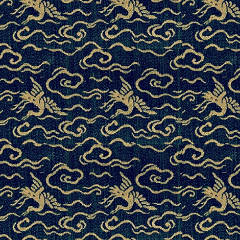 Crane - lapis and turquoise-large fabric by materialsgirl on Spoonflower - custom fabric