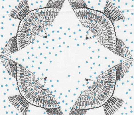 birds - polka dot, blue