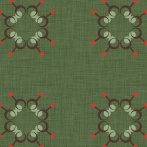 Spindle flower tile green