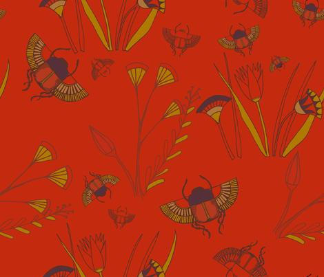Scarab Floral Scarlet fabric by otterspiel on Spoonflower - custom fabric