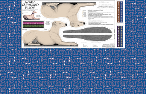Greyhound Pillow Panel - Blue Fawn Male fabric by artbyjanewalker on Spoonflower - custom fabric