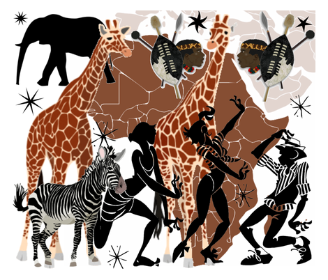 AFRICAN COLLAGE fabric by bluevelvet on Spoonflower - custom fabric