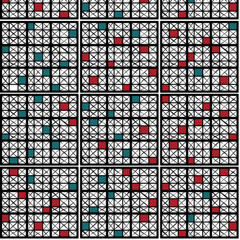 Sudoku Inspired Check fabric by pond_ripple on Spoonflower - custom fabric