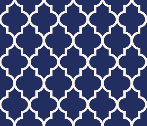 Sapphire and Alabaster Ogee fabric by willowlanetextiles on Spoonflower - custom fabric