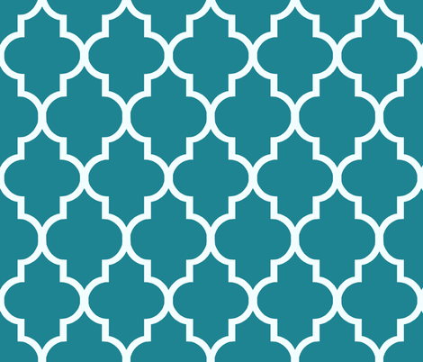 Peacock Teal Ogee fabric by willowlanetextiles on Spoonflower - custom fabric