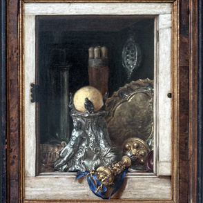 Gijsbrechts ~ Silverware In An Open Cabinet