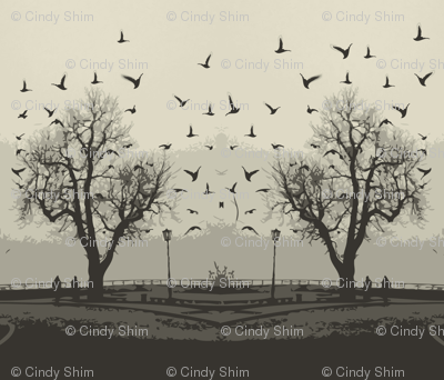 Trees & Flying birds nature