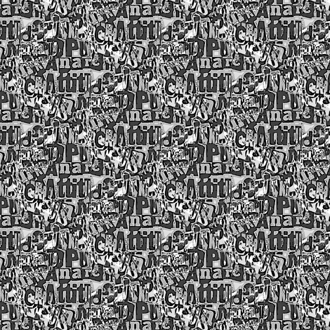 Attitude and anarchy (monochrome) fabric by raccoons_rags on Spoonflower - custom fabric