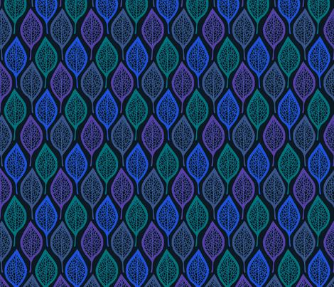 Skeleton Leaves - Night fabric by siya on Spoonflower - custom fabric