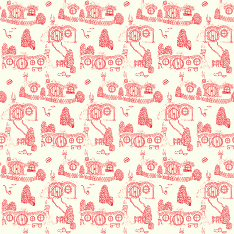 Red Shire Toile fabric by spikymammal on Spoonflower - custom fabric